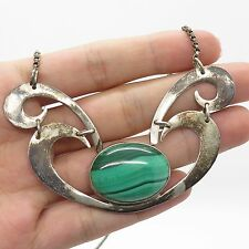 """925 Sterling Silver Large Natural  Malachite Gemstone Pendant Chain Necklace 17"""""""