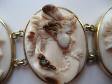 Museum Quality Antique Victorian Hand Carved 15kt Gold Bracelet 7 Goddesses
