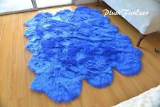 5' x 6' Royal Blue Sheepskin Nursery Colorful Area Rug Plush Baby Boy Girl Rug