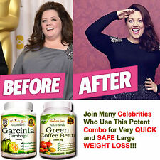 Garcinia Cambogia + Green Coffee Bean Combo Fast Weight Loss 100% Pure Organic*