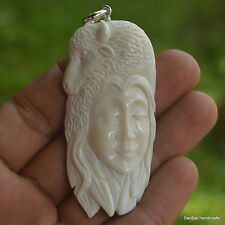 Bull Goddess Carving 65x32mm Pendant P1300 w/ Silver in Buffalo Bone Carved