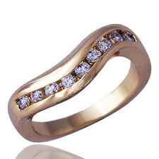 European Womens Bridal Engagement Crystal Ring Yellow Gold Filled Size 6.5