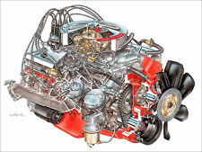 "CHEVROLET LS6 454 ENGINE CUT-AWAY POSTER - 24""W x 18""H"