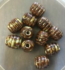 Vintage Rare Genuine Asian Earthy Brown Glazed Ceramic Tube Ribbed Bead Lot