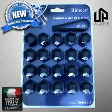 (20) NEW 17MM HEX BLACK CAP COVERS FASTENERS LUG BOLTS NUTS MERCEDES WHEEL ITALY