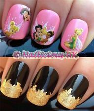 NAIL ART SET 469 TINKERBELL ROSETTA FAIRIES WATER TRANSFERS/STICKERS & GOLD LEAF