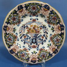 "f738: FLOWERPOT and WIDE RIM on 9¼"" POLYCHROME DELFT WALL PLATE TICHELAAR MAKKUM"
