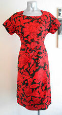 VINTAGE 60S CLASSY RED & BLACK FLOWER PRINT COUTURE TAILORED PENCIL DRESS 12