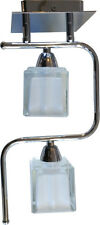Modern Chrome 2 Way Ice Cube Glass Spot Wall Arm Ceiling Light Fitting Lamp Opal