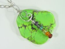 BUTW Hammered Sterling Wire Wrap Chinese Turquoise Pendant w/8 Chakra Gems 4838D