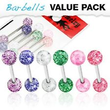 New 6 Pack Surgical Steel Tongue Bar Barbells with Acrylic Glitter Balls 14g