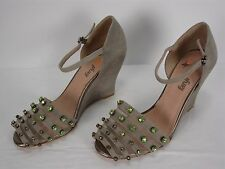 NEW ANTHROPOLOGIE FARYLROBIN NORTHERN LIGHTS WEDGES RHINESTONES SHOES WOMEN'S 7