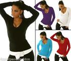 New Sexy Ladies Womens Jumper Sweater V-Neck Top One Size S/M UK size 8/10