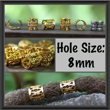 30 Gold DREADLOCK BEADS DREAD Cuffs Hair 8mm hole clip +Free Tibetan Silver Bead