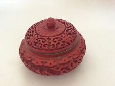 Antique Asian Intricately Carved Cinnabar Box