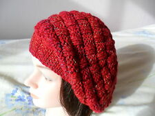 Knitting pattern - Quick & easy ladies basket weave slouchy aran beret hat .