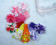 Popular 8 baby girl toddler boutique 4in hair bows with 8 crochet headbands M13