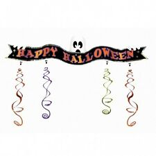 4.8ft Spooky Ghosts Happy Halloween Foil Swirl Party Banner