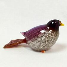 "Studio Art Glass Handblown Colorful Bird Figurine, 5"" x 3"""