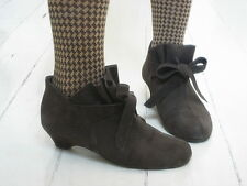 Brown Suede style frilled gathered bow Ankle boots Booties 38