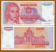 Yugoslavia, 1,000,000,000 (1000000000) Dinara 1993, P-126, AA-Prefix, UNC   Girl