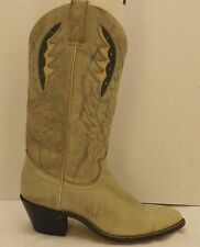 size 9 C mens vintage gray marbled leather feather inlay ACME cowboy Boots NOS