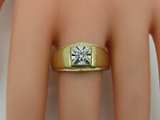 Solid 10k Yellow White Gold Round .19 CT Diamond Solitaire Men's Ring Size 10.25