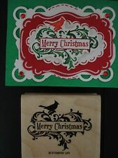 Stampin Up stamp MERRY CHRISTMAS & SWIRLS CARDINAL fit Decorative Label punch