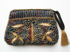 SUDHA rayon hand-beaded & hand-embroidered zip pouch clutch made in India EUC