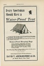 1898 Abercrombie Water Proof Tent Ad Camping Outdoors Sporting Goods NY Campers