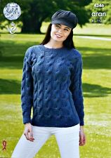 KNITTING PATTERN Ladies Long Sleeve Round Neck Cable Jumper Aran 4346
