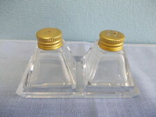 Vintage little cut glass tray with 2 little glass pepper & salt shakers