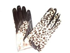 $158 COACH Women's fur top silk Lined Leather size 8 ocelot gloves 83874 NWT new