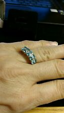 VINTAGE 10K SOLID GOLD AND AQUAMARINE RING - SIZE 6.5