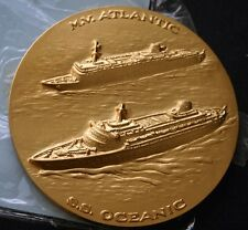 HOME LINES SS Atlantic & SS Oceanic Medal In Sleeve