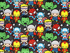 FAT QUARTER  MARVEL KAWAII AVENGERS PACKED CHARACTERS  SUPERHEROS  COTTON FABRIC