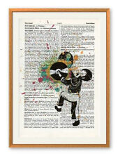 Strop 'Clash' Ltd Ed print on antique vintage book page + Banksy or Dolk art pin