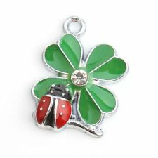 20x 143800 Wholesale Alloy Charms Clover Coccinella Enamel Green & Red Pendants