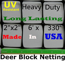 "USA DEER BLOCK NETTING FENCE 6' X 330' UV 2"" X 2"" POULTRY AVIARY DOG/CAT PENS"
