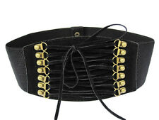 Women Elastic Stretch Cinch Tassels Corset Waist Belt XS S M (Black/Red/Brown)