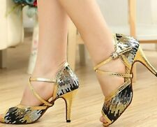 New Women Gold Glitter Latin Salsa Ballroom Dance Shoes High Heels All Size