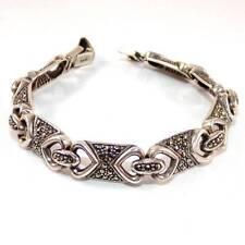 """Vintage Sterling Silver Modernist Marcasite Bracelet 7.5"""""""