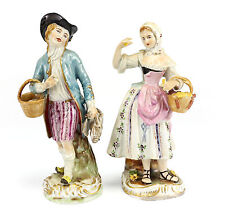 Pair Dresden Carl Thieme Porcelain Figurines c1915 Hand Painted Courting Couple