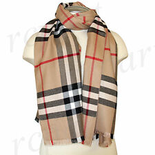New in box scarf scarves large wrap winter plaid checkers beige black gray red