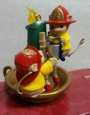 FLAME FIGHTING FIREMEN MICE Ornament w/ Personality HALLMARK New Old Stock 1999