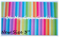 """3"""" CANDYLAND STRIPE CANDY BRIGHT MULTI SCHOOL GROSGRAIN RIBBON 4 BOW HAIRBOW"""
