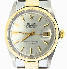 Rolex Datejust Mens Two-Tone 14K Gold Stainless Steel Oyster w/ Silver Dial 1601
