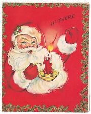 Vintage Greeting Card Christmas Santa Claus Holding Candle Hi There L29