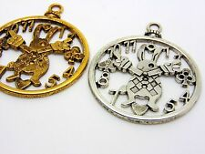 2Pcs - Large 50mm Tibetan Silver Alice in Wonderland Theme Clock Pendants S41