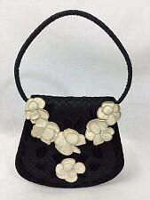 Vintage Chanel Satin w Net Overlay Velvet Leaves & Kid Leather Blossoms Eve Bag